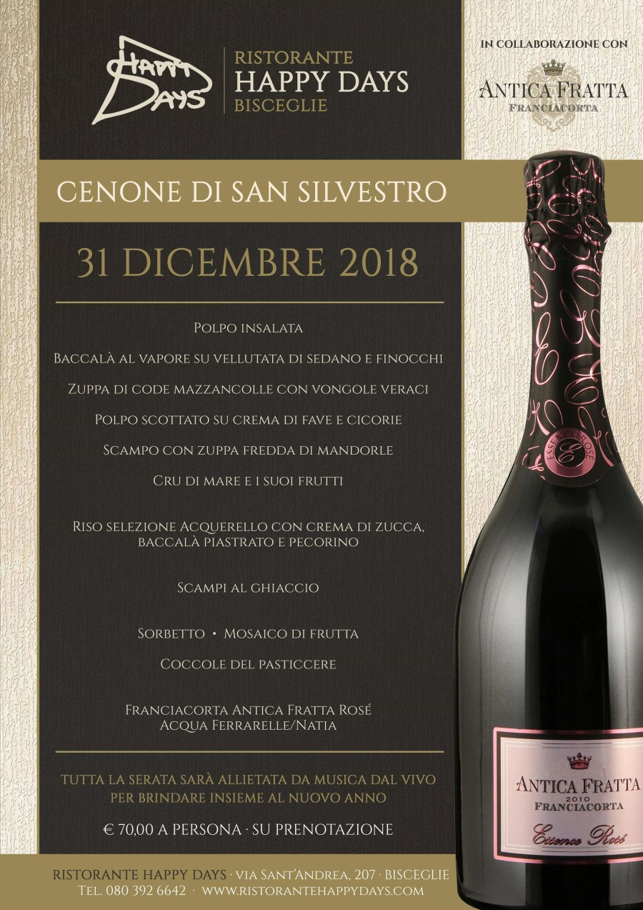 Cenone di S.Silvestro – 31 Dicembre 2018